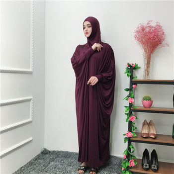 Newest 65%cotton 35% polyester material dark purple  Muslim pray  abaya with fashion sleeves