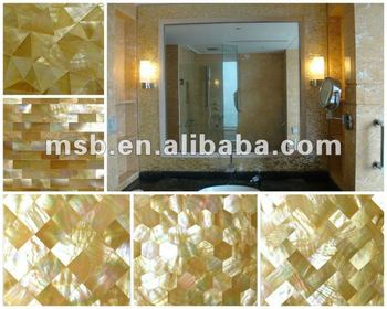 Yw003 Brick Natural Yellow Lip Mother Of Pearl Mosaic Shell Panel For Mirror Frame