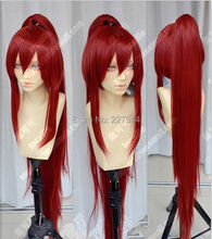 FREE shipping>>>>Fairy Tail Erza Scarlet Dark Red Cosplay Party Wig w/ Ponytails +1 ponytail