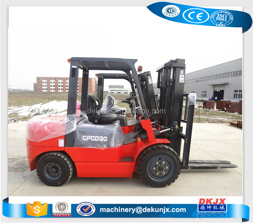 CE Approve CPCD30 3 37KW Ton New Diesel Forklift With Front Double Tyre