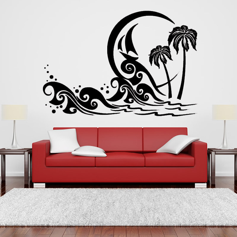 Modern Living Room Decoration Design PVC Removable Sea Wave And Palm Tree Wall Stickers Beach Scene Home Decor
