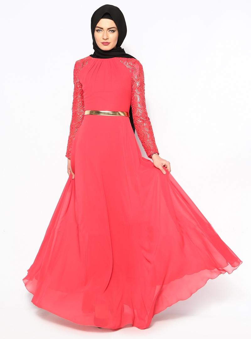 Buy 2015 elegant muslim evening dresses long Watermelon red chiffon ...
