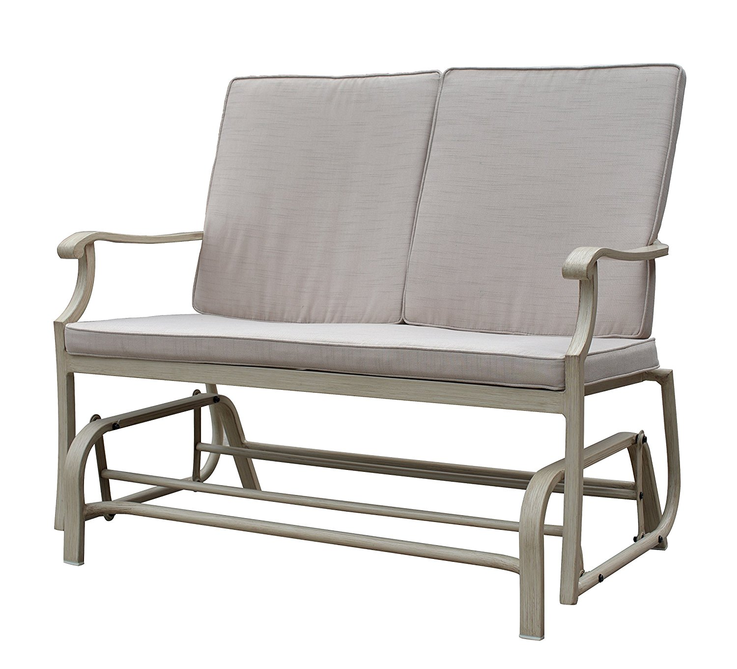 Courtyard Casual Camel Torino Aluminum Outdoor Double Glider Loveseat