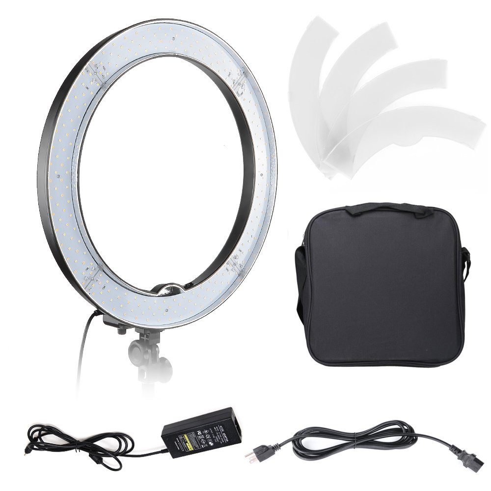 Hakutatz Dimmable 18 inches 55W 240 Pieces Adjustable LED SMD Ring Light 5500K Ring Flash Light with Carrying Bag,Plastic Filter Set,Adapter for Portrait,Photography,YouTube Video Shooting