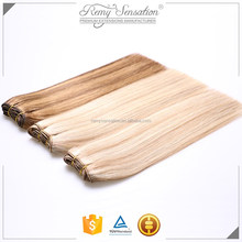 High quality double drawn hair weave for white women, 100% indian remi hair extension dropship