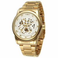 WINNER 263 Luxury Big Dial Winner Waterproof Custom Gold Black Brand Automatic Skeleton Bracelet Men Watches
