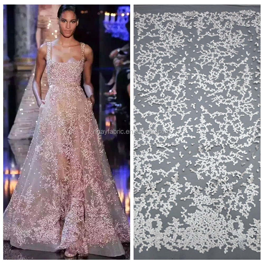 2016 White bridal lace material fashion show high quality design french lace fabric HY0375