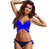 Chest cross tube top Two-pieces bikini candy color large size swimsuit