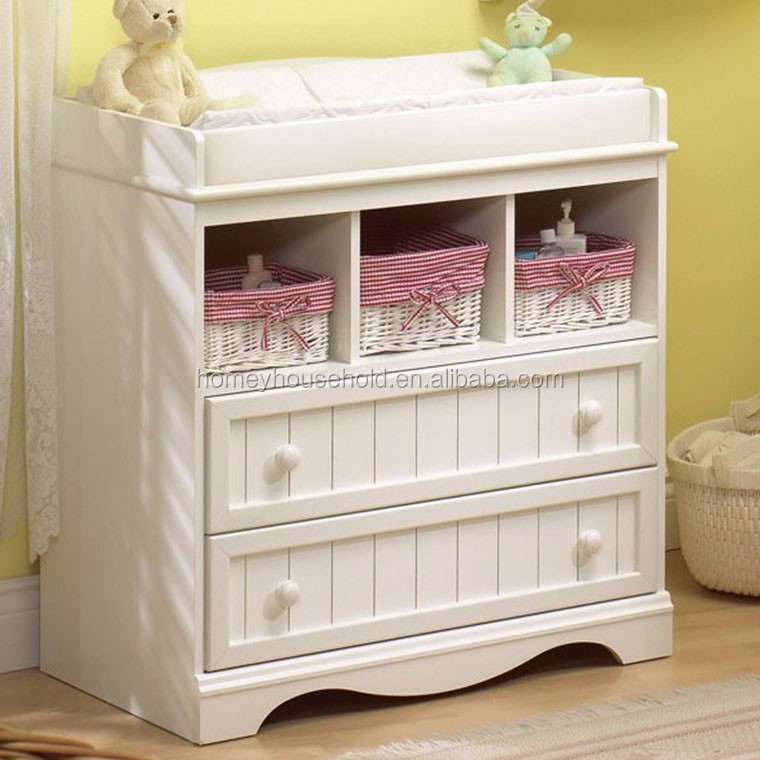 Latest wooden furniture design modern white drawer baby changing table