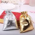 FENGRISE 50pieces 7x9 cm 9x12 cm Metallic Foil Cloth Organza Bags Wedding Decoration Favour Gifts Goodie