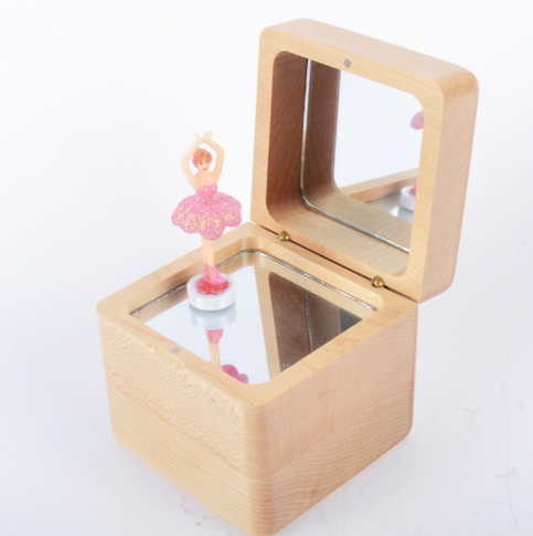 Wholesale Rectangle best price ballerina musical boxes with mirror jewelry tray