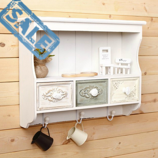 Kitchen Wall Cabinets With Drawers: European Rural Retro Wood Carved Closet Wall Mount Kitchen