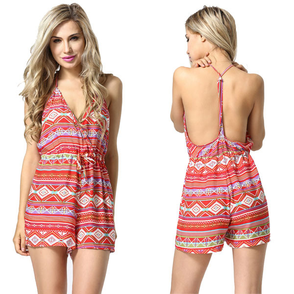 dca3e48e6d20 Buy New Summer Sexy Printed Floral Jumpsuit For Women V-neck Backless Loose  Spaghetti Strap Short Jumpsuit in Cheap Price on m.alibaba.com