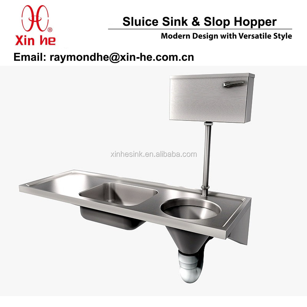 Combined Stainless Steel Sluice Sink Slop Hopper Unit with Cistern, Medical Sluice Sink Combination for Hospital Sanitary Ware