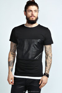 PU Panel T Shirt/blank custom designs tshirt/high fashion men clothing/model-sc296