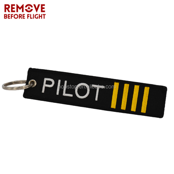 Remove Before Flight OEM Key Chain Jewelry Safety Tag Embroidery Pilot Key Ring Chain for Aviation Gifts Luggage Tag Label