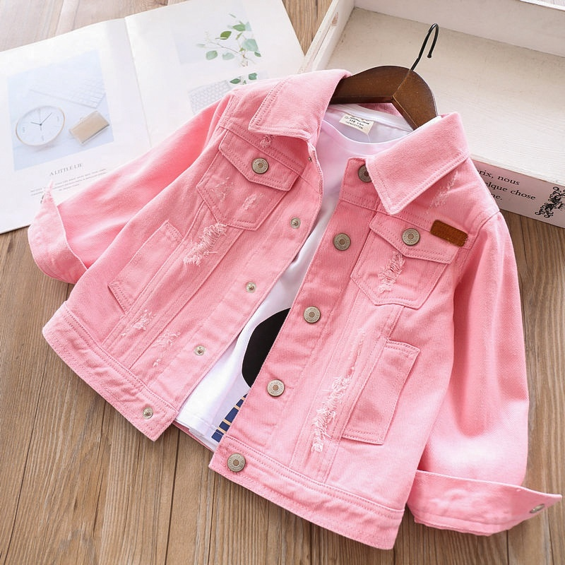 Alibaba.com / Girls denim jacket coat pink plain jean ripped children clothes wholesale boutiques kids jacket outerwear children clothes