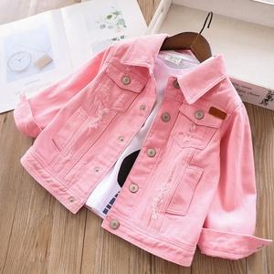 Girls denim jacket coat pink plain jean ripped children clothes wholesale boutiques kids jacket outerwear children clothes