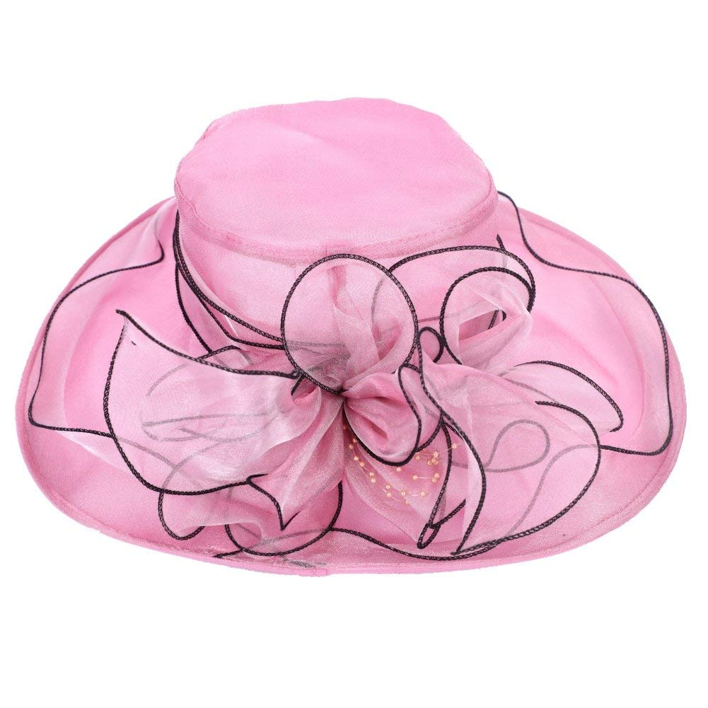 a88e0f0c849be Get Quotations · Women Organza Church Derby Hat UPF 50+ Bucket UV  Protection Ruffles Sun Hats Packable Floral