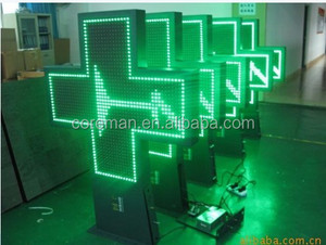led display double color /2 colors acrylic p10 clock digital cross sign /cross led sign
