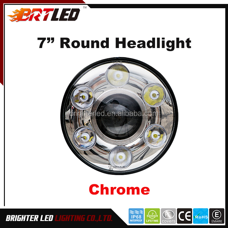 ECE/DOT 7inch Round Head Light-High Low Beam with perfect cutline for harley, jeep wrangler, truck etc