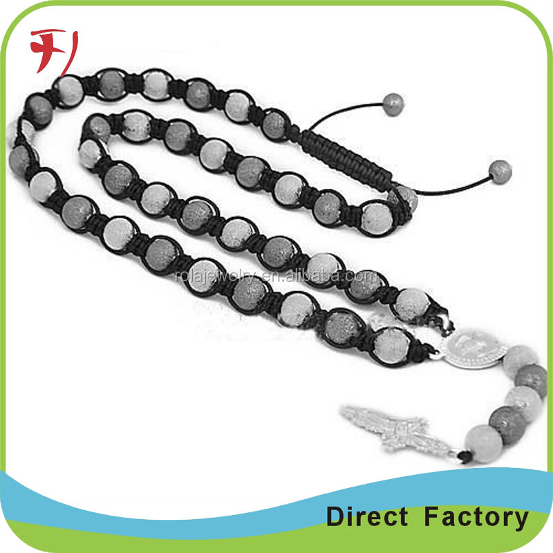 Handmade black cotton nylon braid shamballa crystal ball adjustable string necklace yoga necklace