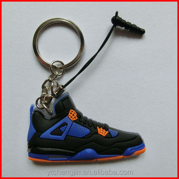 Royal blue and black jordan 4s key rings with phone accessory