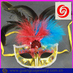 fashion plastic shiny red feather cock mask for party girl
