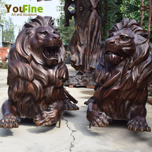 Metal craft bronze front door lion statue sculpture