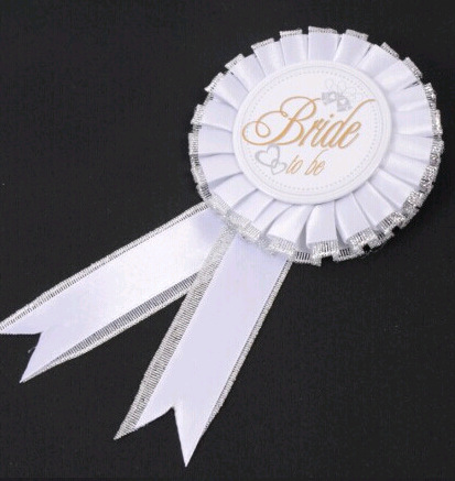 White Bride to Be Rosette Wedding Party Bridal Badge