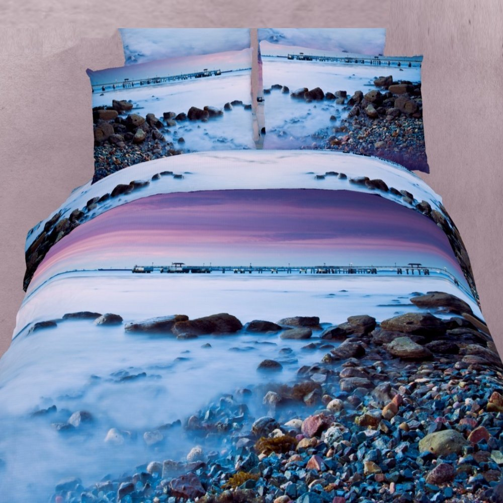 Alicemall 3D Blue Ocean Bedding Set 100% Cotton Pebbles in the Mist Purple Sky Print 4 Piece 3D Bedding Sets, 4 PCS Landscape Duvet Cover Sets, No Comforter (Full)