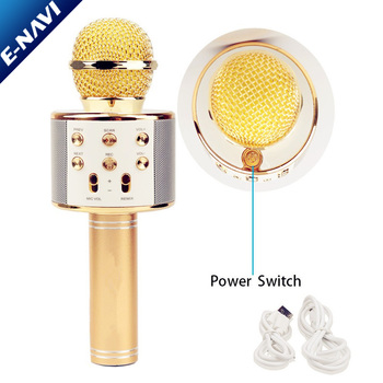 2018 New Handheld Golden FM USB TF Magic Sound Karoke WS858 Microphone for Children