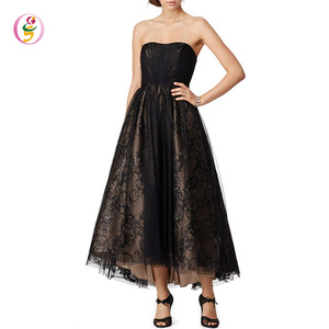 Black Silk taffeta elegant black short lace evening dress sexy evening Gowns