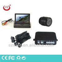 hot selling folded rear rear view night vision camera mirror and parking sensors with guide line on screen
