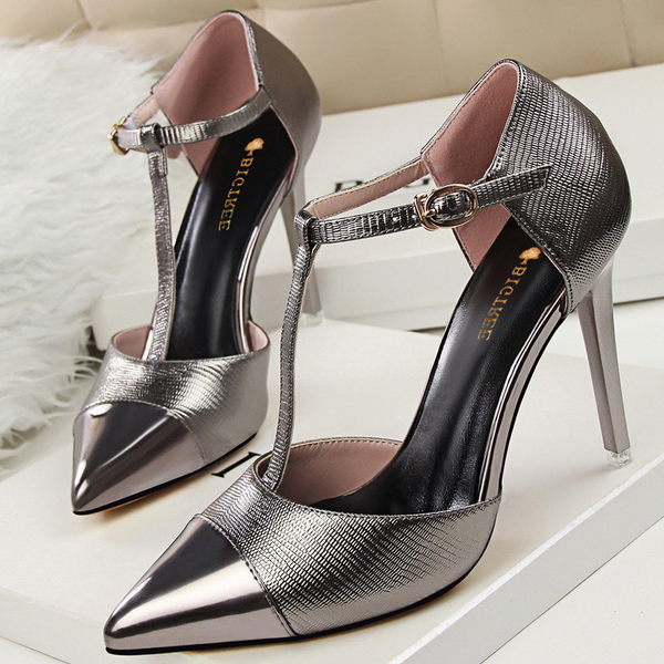 SAA40006 Stylish metal like pointy toe stiletto high heels ladies fashion shoes
