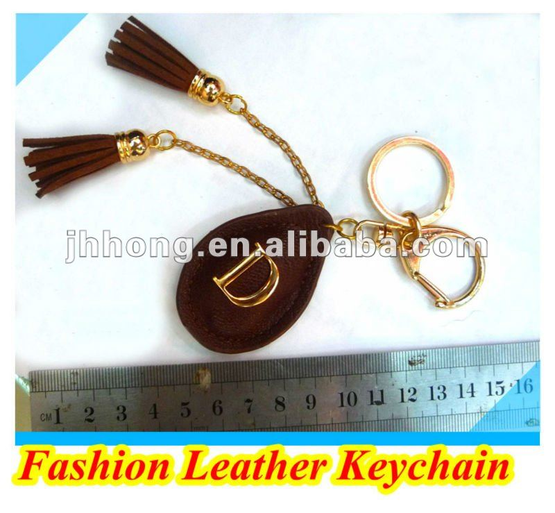 2012 New&Fashion Leather letter Pendant Keychain/Key Ring