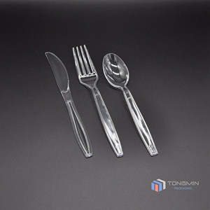 Luxury crystal clear cheap plastic spoon cutlery set