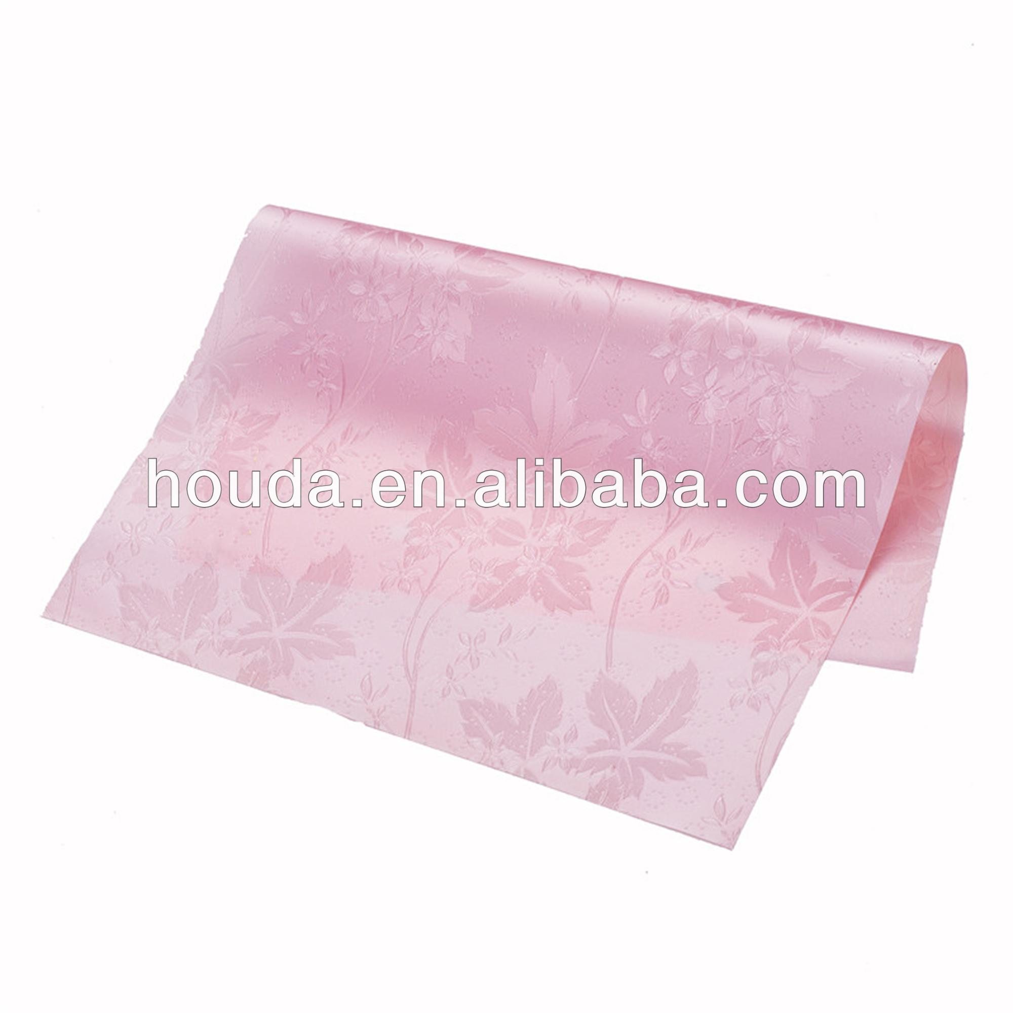 pink color roll soft pvc film for raincoat and apron