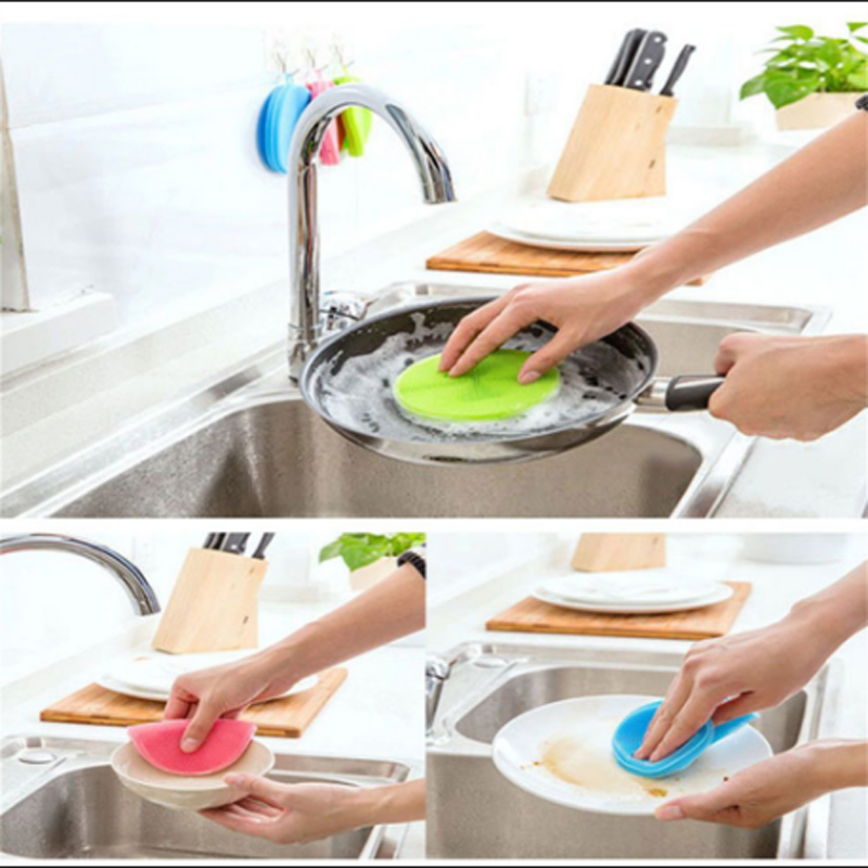 2020 Amazon wholesale Silicone Sponge Cleaning Dish brush Kitchen mesh cleaning scrubber sponge
