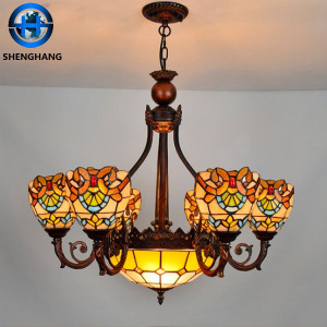 Chandelier lights cheap price tiffany style glass hanging lamp vintage grapes pattern flower pattern lamp