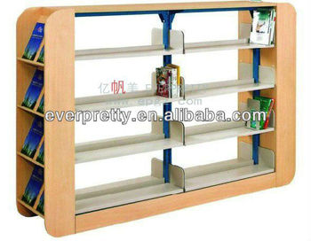 Whole Wooden Library Bookshelf 4 Layers Double Sided Book Exhibition Shelf School Furniture