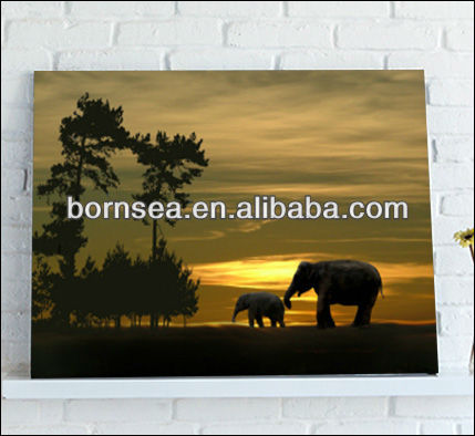 walking elephants on the sunset canvas print <strong>art</strong>
