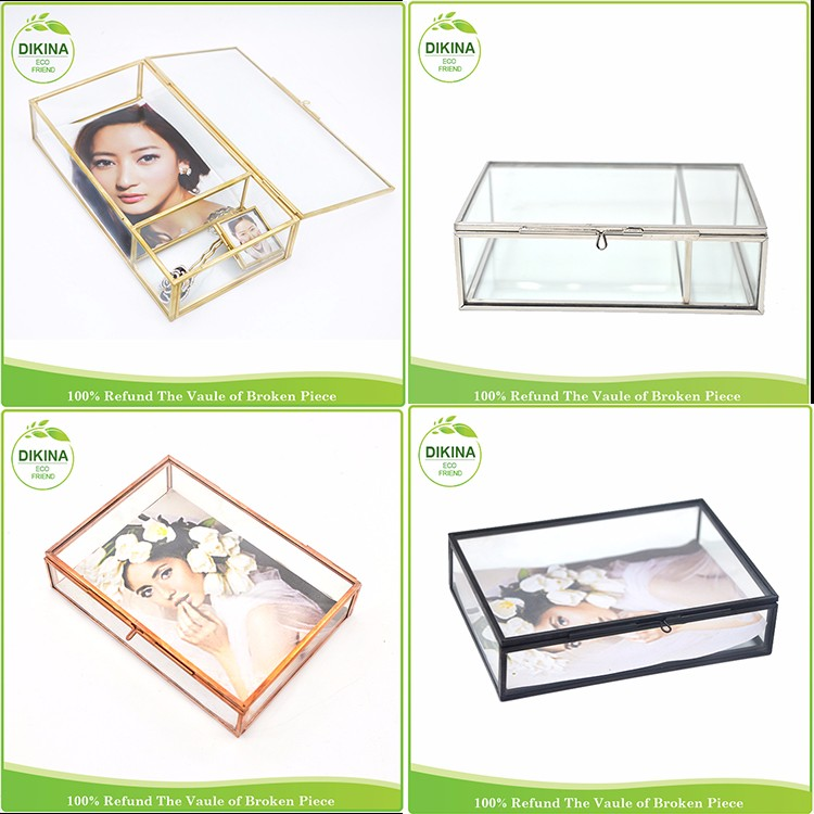 In stock!! USB photo jewelry souvenir dress cake card money ring invitation clear glass tin brass gift candy wedding favor box