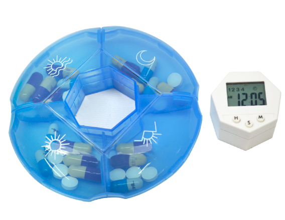 Round Digital 4 Compartment Pill Box Reminder w/ Alarm, Timer