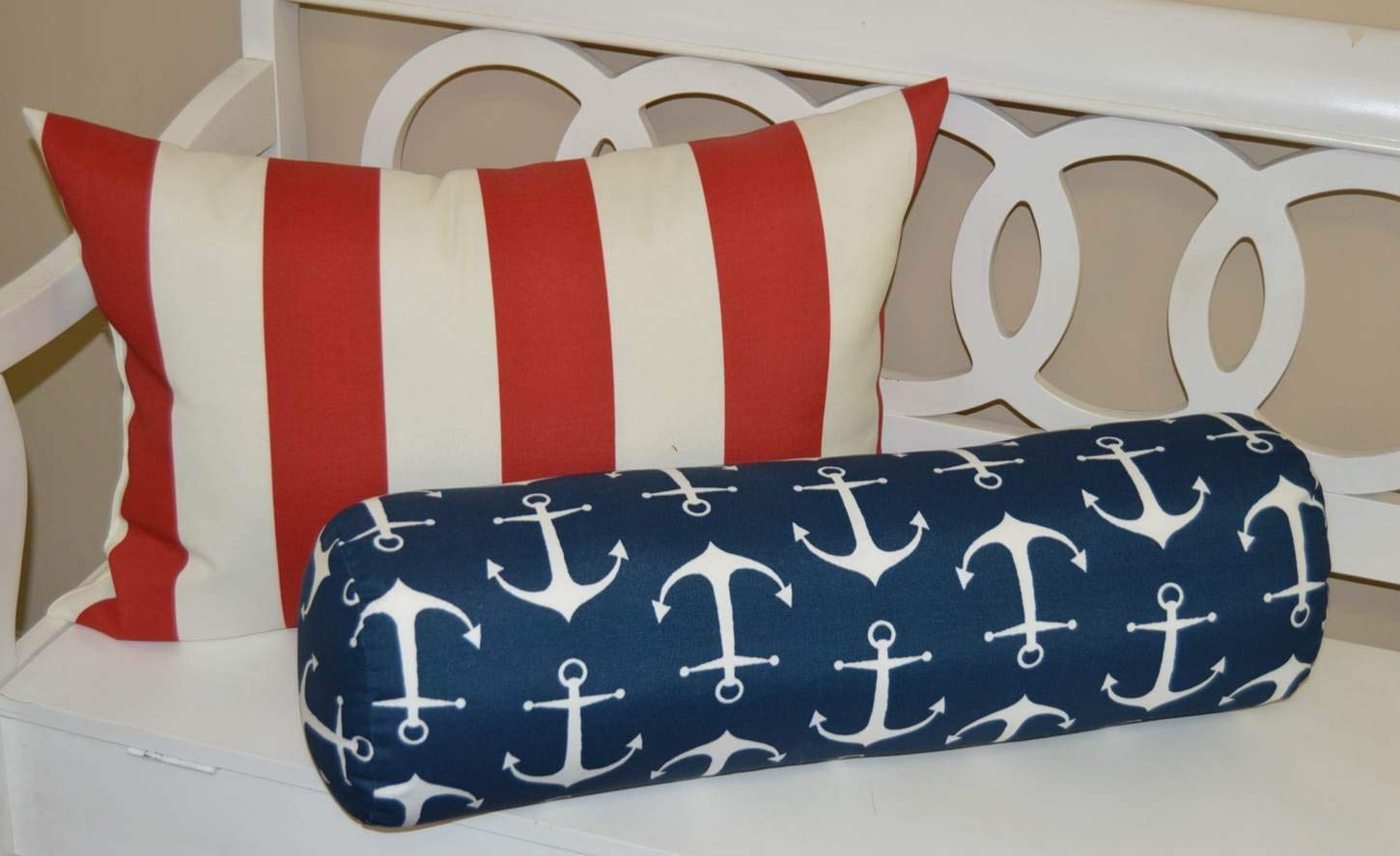 Set of 2 - Indoor / Outdoor Jumbo, Large, Over–sized, Rectangle / Lumbar & Neckroll / Bolster Chaise Lounge Decorative Throw / Toss Pillow - Red and White Stripe & Navy Blue with White Nautical Anchors