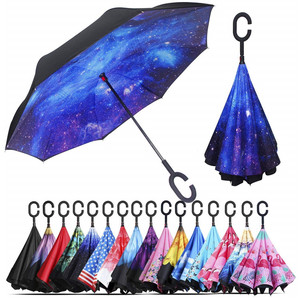 Windproof Double Layer Folding Inverted Umbrella, Self Stand Upside-Down Rain Protect Car Reverse Umbrellas with C-Shaped Handle