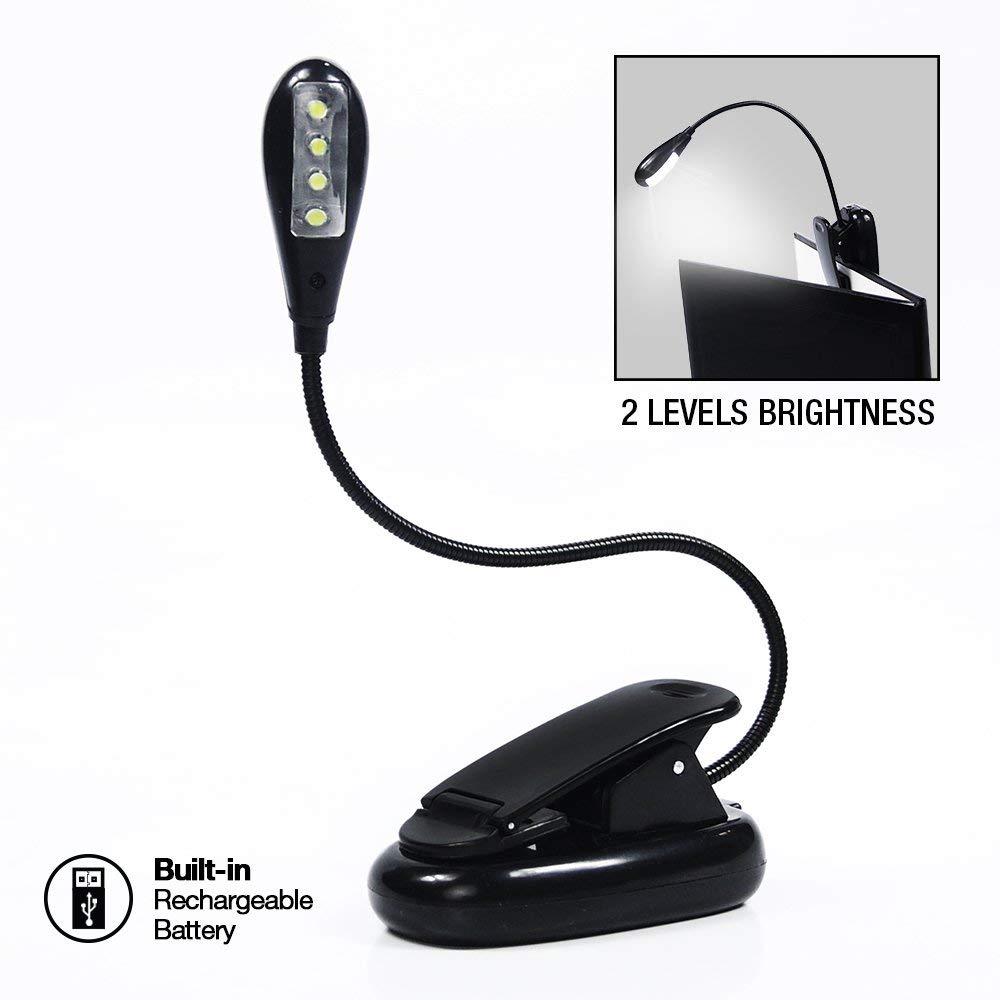 eTopLighting Gooseneck Rechargeable 4-LED Book Light Clip-On Reading Computer De