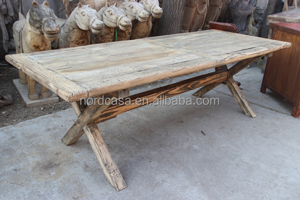 traditional chinese provincial natural wood color reclaimed wood solid slab dining tables