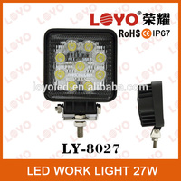 Black square 27W led offroad light, commercial electric led working light