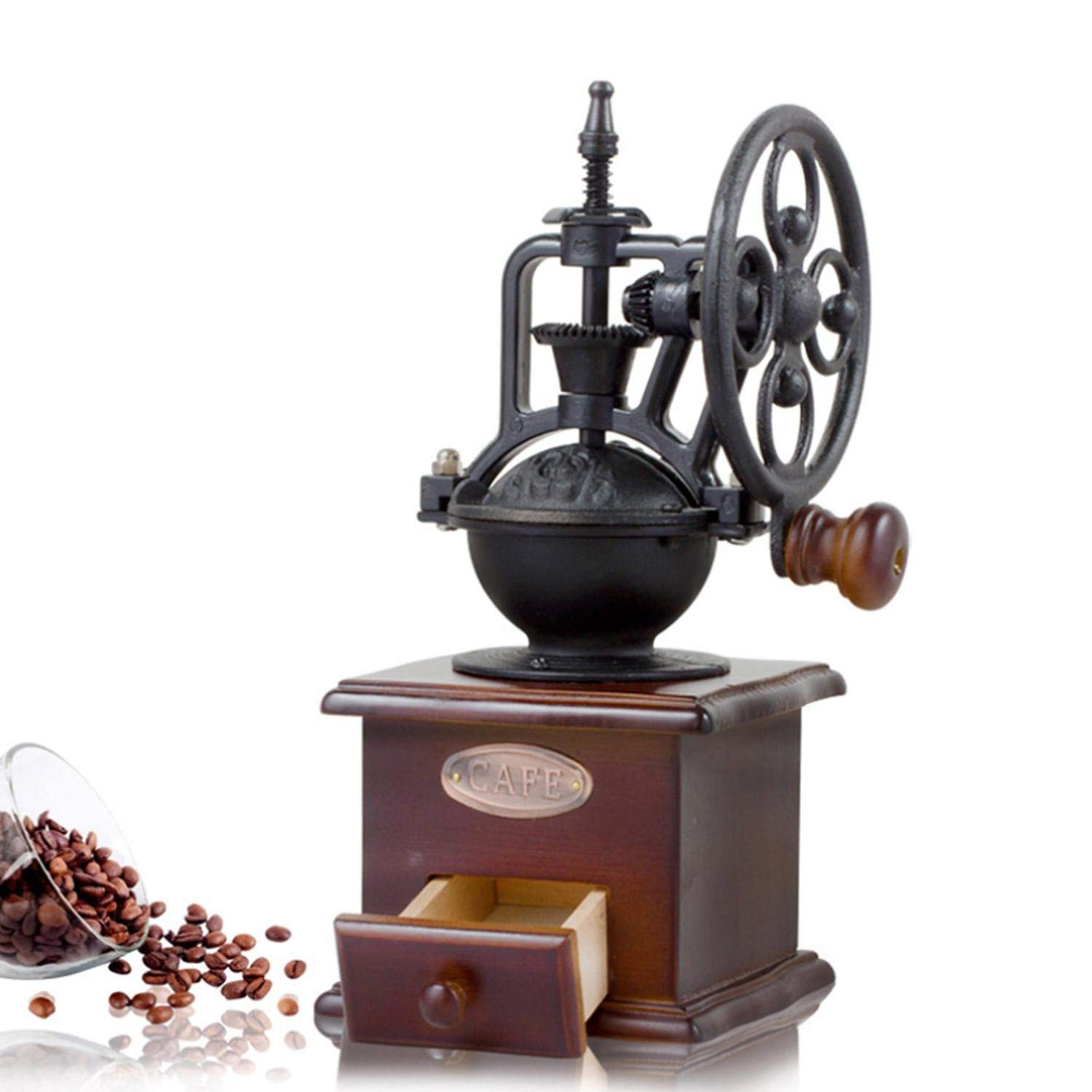 Aolvo Manual Coffee Grinder With Grind Settings and Catch Drawer, Classic Vintage Style Hand Coffee Bean Mill Burr Grinding Machine, Hand-crank Roller Drive Grain Spice Grinder Coffee Maker